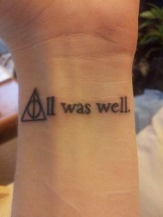 This is the final line, in the final book of the Harry Potter series, with the Deathly Hallows symbol forming the A. I tracked down the font used in the first editions and copied that so it would feel more genuine. This symbolises both endings and beginnings for me, and serves as a reminder of the magic of escapist literature.