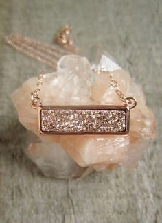 Rose Gold Druzy Necklace, Titanium Druzy Quartz Necklace, Gemstone Bar Necklace by julianneblumlo on Etsy https://www.etsy.com/listing/246918164/rose-gold-druzy-necklace-titanium-druzy