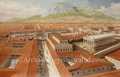 Corinth, Southern Greece, The Forum and Civic Center c, AD - Archaeology Ill. Roman Architecture, Architecture Drawings, Ancient Architecture, Classic Architecture, Ancient Rome, Ancient Greece, Ancient History, European History, Ancient Aliens