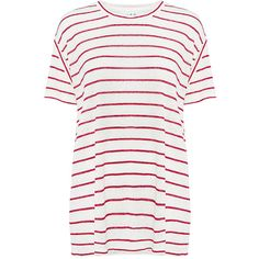 Iro.jeans - Brooklyn Striped Tee (€160) ❤ liked on Polyvore featuring tops, t-shirts, white linen tee, white t shirt, white striped t shirt, striped t shirt and white tee