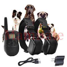 Rechargeable Waterproof LCD 100LV Level Shock Vibra Remote 2 Dog Training Collar #AGPtek