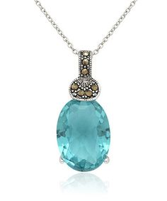 Take a look at this Silver & Blue Topaz Oval Pendant Necklace by Pretty Plus on #zulily today!