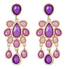 Set of chandelier earrings with faceted stones in amethyst.   Product: 1 Pair of earringsConstruction Material: Z...