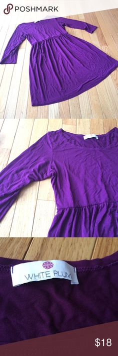 """Casual purple dress Sz S Rayon with a touch of spandex makes this a cozy flowy everyday dress. Spruce it up with jewelry and accessories. Approx 32"""" long and 16"""" across pit to pit. Smoke free. a White Plum Dresses"""