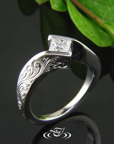 Custom 950 Palladium, high polish finish wrap set ring for Princess Cut center Diamond. Piece has beautiful hand engraved scroll pattern on top face & sides.