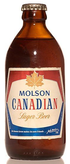 Molson Canadian Lager beer, a famous beer in Canada.