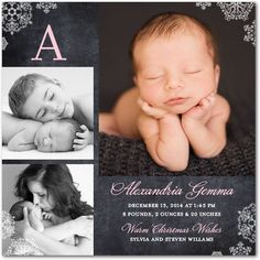 Dazzling Beginning - Winter Girl Birth Announcements - Hello Little One - Blushing - Pink : Front