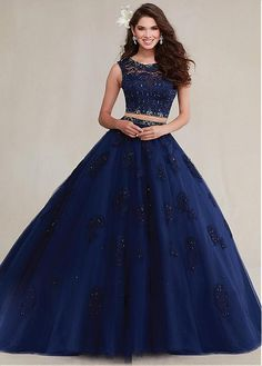 Exquisite  Two-piece Lace & Tulle Jewel Neckline Ball Gown Quinceanera Dresses With  Beadings & Rhinestones & Beaded  Lace Appliques #selectprom