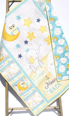 Baby Quilt I Love You To The Moon And Back Boy or Girl Crib Bedding Nursery Blanket Blue Yellow Grey Sheep Elephant Stars Handmade Keepsake by SunnysideDesigns2
