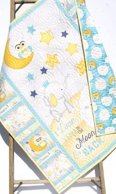 Baby Quilt I Love You To The Moon And Back Boy or Girl Crib Bedding Nursery Blanket Blue Yellow Grey Sheep Elephant Stars Handmade Keepsake by SunnysideDesigns2