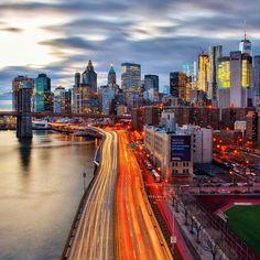 Lower Manhattan at twilight and light trails along the FDR...#newyork #newyorkcity #nyc #manhattan #brooklyn #photography