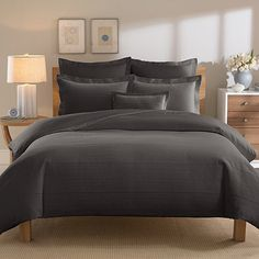 Real Simple® Linear Duvet Cover in Charcoal - BedBathandBeyond.com