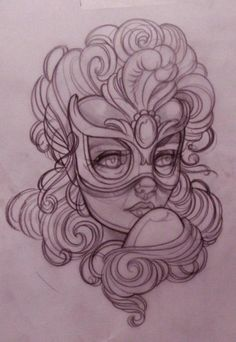 Lady head with mask and feathers by Emily Rose Murray - drawing