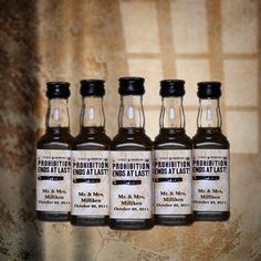 25 Wedding Favors Prohibition Ends Mini Bottle Labels for Wedding Party