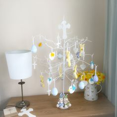 Easter Tree, Easter Eggs, Chicks, Home Decor, Decor, Cute, Bunnies, Lace and Ribbon.