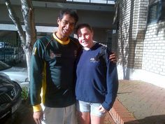 Achmat Hassiem, SA paralympic swimming medal winner @London 2012, with my daughter #Teegan Zacharias outside Sports Science Institute of SA #SSISA -25 Sept 2012