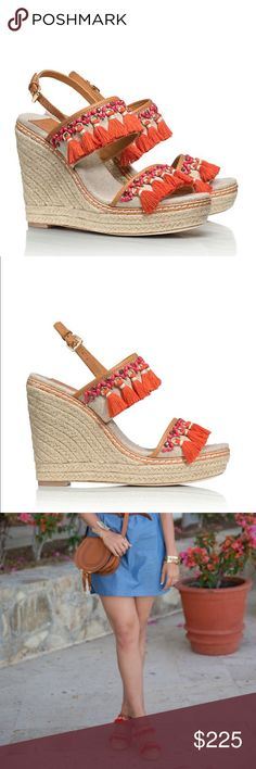 Tory Burch Niyah Espadrille Step into the fringe w/ the Niyah Espadrille — a bohemian-chic statement wedge done in natural linen, jute & leather. The mix of coral-colored yarns nods to a decorative tassel print finished with rings, beads & stones. It's an easy way to add an eclectic note — & flattering height. Size 10.5. Brand new with box (box is missing the lid)  🚫no trades 🙅🏻 🔘please use offer button to negotiate 👌🏻 🗣please ask questions ❓before you buy 💗thank you for visiting by…