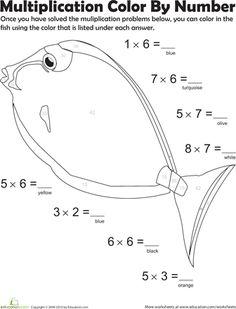Worksheets: Multiplication Color by Number: Fish #1