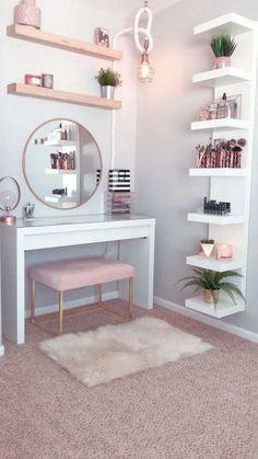 53 Best Makeup Vanities & Cases for Stylish Bedroom - bedroom - Apartment Decor Girl Bedroom Designs, Room Ideas Bedroom, Home Decor Bedroom, Bedroom Wall, Bedroom Mirrors, Master Bedroom, Bed Room, Bedroom Hacks, Interior Livingroom