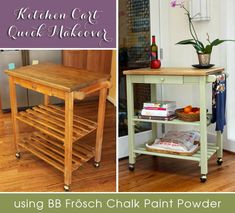 Quick Kitchen Cart Makeover With BB Frosch Chalk Powder :: Hometalk