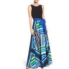 Women's Eliza J Scarf Print Jersey & Crepe De Chine Maxi Dress