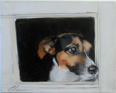 Curious Jack Russell Terrier Looking Out Dog Door, Original Painting by Clair Hartmann