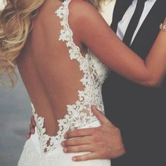 open back, lace, sleeveless wedding dress