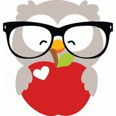 Silhouette Design Store: owl with apple