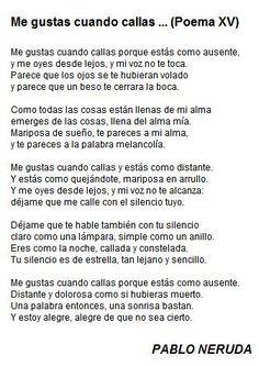 Me gustas cuando callas… - Pablo Neruda