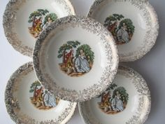 Vintage Victorian Style Cream Gold Berry Bowls Set by thechinagirl