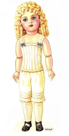 Victorian Doll I with beautiful wardrobe. This site is a treasure trove of paper dolls.