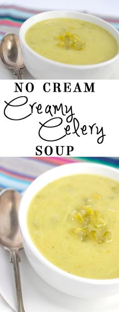 No Cream Creamy Celery Soup - Erren's Kitchen - A low calorie, low fat packed full of flavor soup