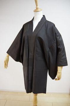 Kimono Dress Japan Vintage haori coat robe Geisha costume used silk KDJM-H0086