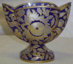 Antique Julius Muhlhaus Acid Etched Bohemian Art Glass Vase Blue w Gold Floral   eBay