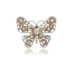 Crystal Large Butterfly Ring | Butterfly Gold Ring | Lemonade Rings ($48) via Polyvore