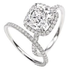 Harry Winston, Micropave Ring, Cushion-Cut, 3.03 carats, Platinum setting looks identical to my engagement ring and wedding band!!!