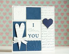 I Love You Blue Navy Handmade Card with by BeautyfromashesUSA, $5.00