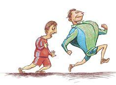 Estudio demostró que los niños de hoy demoran un minuto y medio más en correr la misma distancia que los niños de hace 30 años. Exceso de TV, comida calórica, más traslados en auto y menos tiempo de juego al aire libre serían la causa. Princess Zelda, Tv, Funny, Fictional Characters, Outdoor Games, Distance, Bicycles, Studio, Illustrations