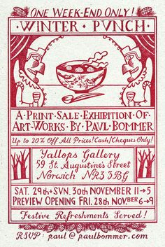 """""""Winter Punch"""" exhibition poster by Paul Bommer Vintage Lettering, Lettering Design, Vintage Packaging, Packaging Design, Punch And Judy, Collage Illustration, Exhibition Poster, Lady And Gentlemen, Love Letters"""