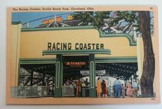 The Racing Coaster Euclid Beach Park Cleveland Ohio Post Card vintage collectabl