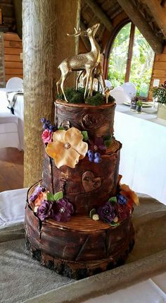 Forest wedding cake Tree slices Hand painted
