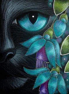 """Black Cat Behind the Aqua Fuschia Flowers"" par Cyra R. Cat Painting, Black Cat Art, Animal Art, Art Drawings, Drawings, Cat Cards, Animal Paintings, Cat Drawing, Art Portfolio"