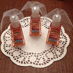 Hand sanitizer with little tule veils for bridal shower favors! So cute! Soap, Bottle, Flask, Jars, Soaps