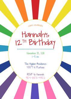 custom rainbow burst invitation $15 print yourself design
