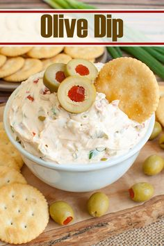 An easy dip bursting with olive flavor. This olive dip is the perfect combination of creamy and salty. Great make ahead olive appetizer for a party, holiday or potluck. Serve with crackers, chips, pretzels, bread or veggies. #dips #appetizers #potluck #partyfood #olives Holiday Appetizers, Yummy Appetizers, Appetizer Recipes, Snack Recipes, Cooking Recipes, Veggie Dip Recipes, Easy Appetizers For Thanksgiving, Dip Recipes For Parties, Easy Summer Appetizers