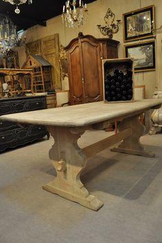 1950 French Vintage Bleached Oak Trestle Table 1