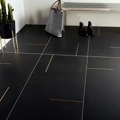 Lines Brass Inlay Black Matte Porcelain Tile Modern Flooring, Kitchen Flooring, Modern Floor Tiles, Tile Flooring, Bathroom Floor Tiles, Wall Tiles, Bathroom Porcelain Tile, Black Kitchen Floor Tiles, Bathroom Wall