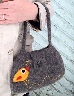 Dark gray hand knit felted bag with happy needle by HandmadebyMia, $45.00