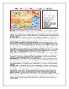 """Western Penetration of China: Reading & Questions (Imperialism) Your students will be able to understand foreign influence in China during the era of Imperialism with this engaging reading and review questions worksheet. Topics include: First Opium War Treaty of Nanking, 1842 Second Opium War Treaties of Tientsin and Peking Imperialist Pressure """"Open Door Policy"""" Boxer Rebellion"""