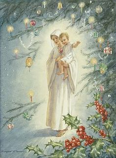 'The Heart of Christmastide' - Madonna and Child with Christmas Tree and Holly Spray. The virgin Mary and the baby Jesus under a Christmas tree. Christmas card.